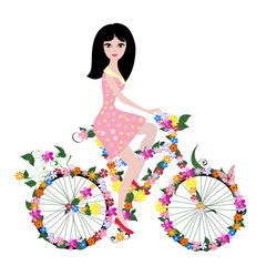 Poster Floral woman flower girl on bike