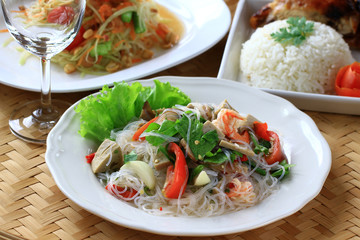 Thai spicy seafood with vermicelli salad.
