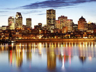 Poster Canada Montreal skyline at dusk, Quebec, Canada