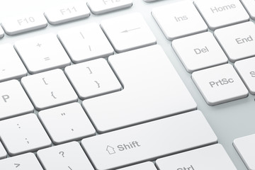 Keyboard with white blank Enter button, with copyspace