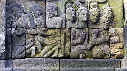 Bass-relief on the wall in Borobudur temple