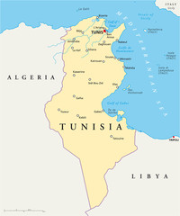 Tunisia political map with capital Tunis, national borders, most important cities, rivers and lakes. Illustration with English labeling and scaling. Vector.