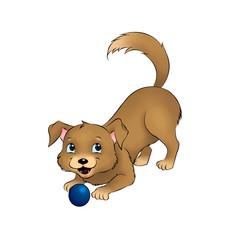 Welpe spielend mit Ball