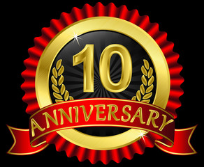 10 years anniversary golden label with ribbons