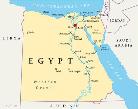 Egypt political map with capital Cairo, Nile, Sinai Peninsula and Suez Canal. Arab Republic of Egypt with international borders and neighbor countries. Illustration. English labeling. Vextor.