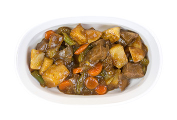 Roast beef with vegetables in cooking dish