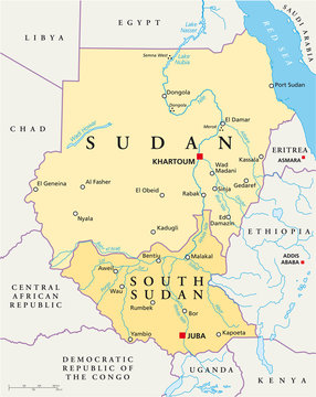 Sudan and South Sudan political map with capitals Khartoum and Juba, with national borders, most important cities, rivers and lakes. Illustration with English labeling and scaling. Vector.