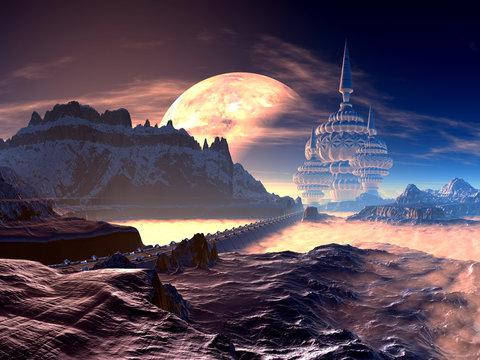 Bridge to Alien Tower City on Distant Planet