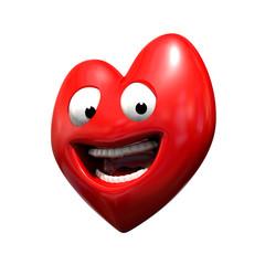 Coeur souriant mascotte