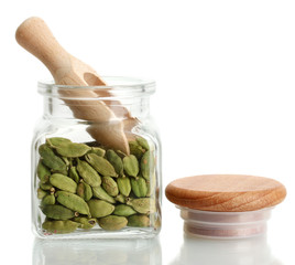 Poster Kruiden 2 Jar of cardamom isolated on white close-up