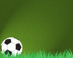 Football soccer on grass and abstract background