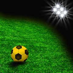 The grass from soccer field. Texture of green grass with ball