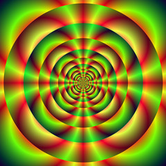 Fototapeten Illusion Red Green and Yellow Rings