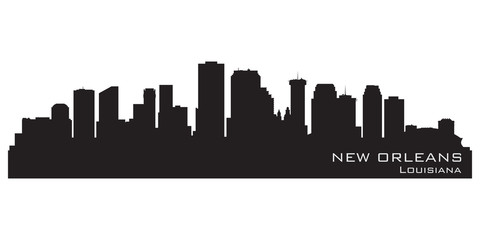 Fototapete - New Orleans, Louisiana skyline. Detailed vector silhouette