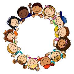 Children in white circle