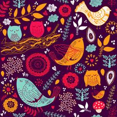 Fototapete - Seamless floral pattern