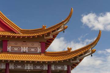 Roof and architectural details of Buddhist Temple