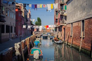 Gondolas in Venice street