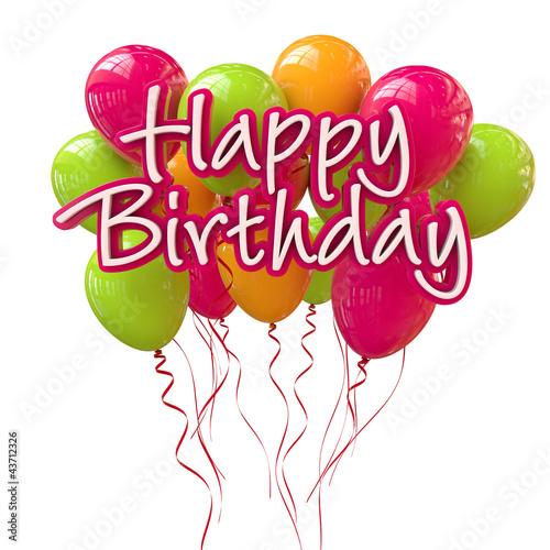 happy birthday schriftzug mit bunten luftballons stockfotos und lizenzfreie bilder auf fotolia. Black Bedroom Furniture Sets. Home Design Ideas
