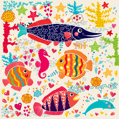 Aluminium Prints Submarine Vector wallpaper with fish and marine life