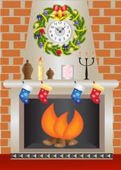 White Christmas fireplace