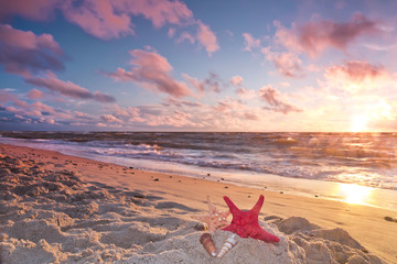 Landscapes of Poland. Beautiful sunset at Baltic sea.