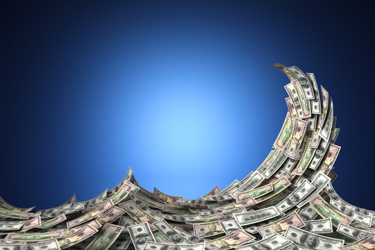 Money concept showing a tidal wave of US dollar bills