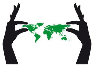 Hands keeping world