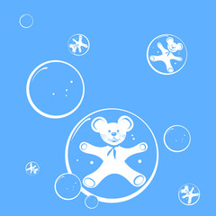 Seamless pattern with bubbles and mouse