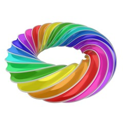 3d abstract shape - rainbow ring