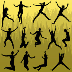 Young woman silhouettes jumping in the summer air background vec