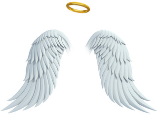 angel design elements - wings and golden halo isolated Wall mural