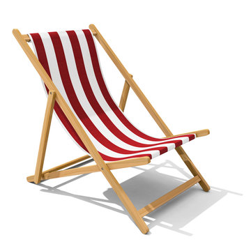 Deck-chair with red and white stripe pattern