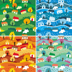 Spoed Fotobehang Op straat Seamless patterns with 4 seasons