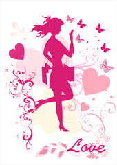 Dreamy girl  vector silhouette
