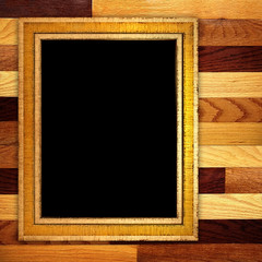 picture frame on wooden wall