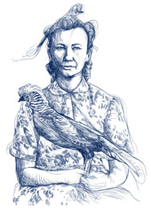 lover of bird - hand drawing picture