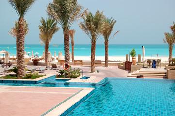 Canvas Prints Abu Dhabi Swimming pools at the luxury hotel, Saadiyat island, Abu Dhabi,