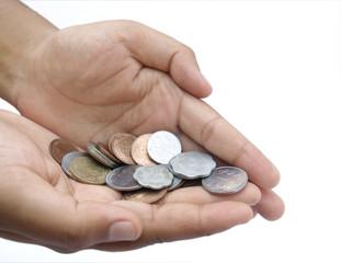 indian coins inhand