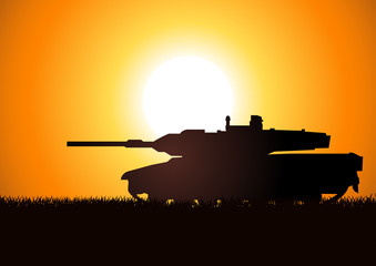 Foto op Canvas Militair Silhouette illustration of a heavy artillery