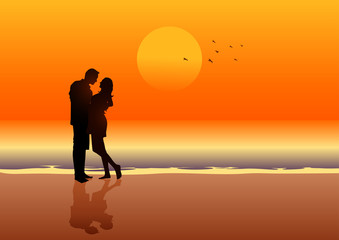 Silhouette illustration of a couple on the beach