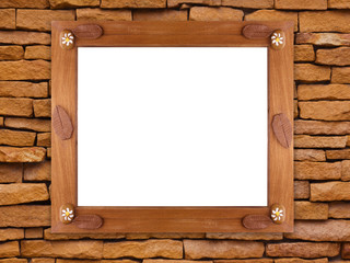 Wall Mural - Wooden frame on stone wall