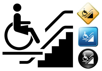 Handicap elevator for woman pictogram and icons