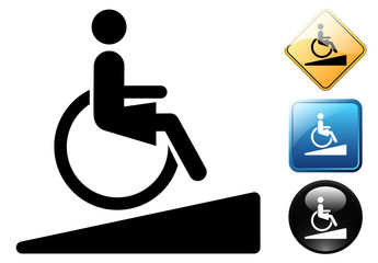 Female handicapped accessible pictogram and icons