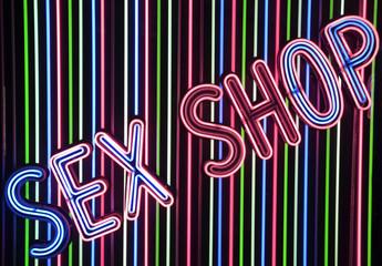 illuminated sign of sex shop in Madrid