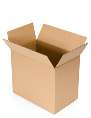 Opened cardboard container, isolated, white background