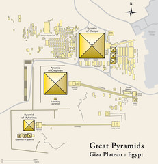 Pyramids of Giza map. Illustration of the Giza Necropolis with the pyramids of Giza, the archeological site on the Giza Plateau. Map of all important sights. English labeling. Vector.