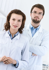 Medical staff is waiting for the patient, white background
