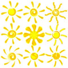 Icon vector brush paint sun set