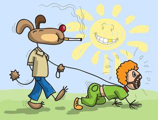 Dog has man on a lead